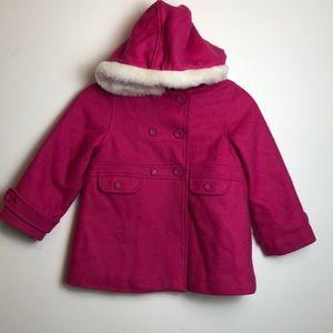 Beautiful pink wool Janie and Jack pea coat 4t-5t
